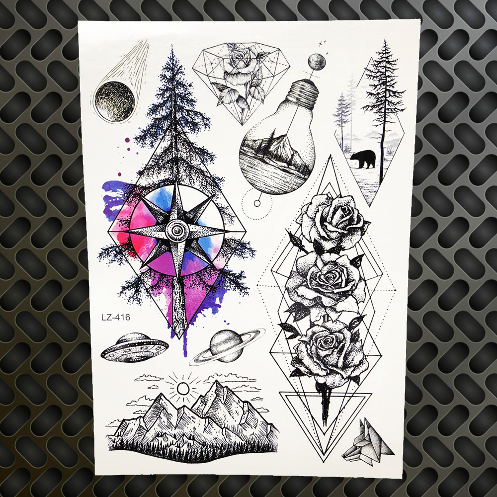 Blue Pine Tree Forest Temporary Tattoo Stickers Watercolor Flower Fake Tattoo Waterproof Rose Women Geometry Universe Tatoo Men D19011202