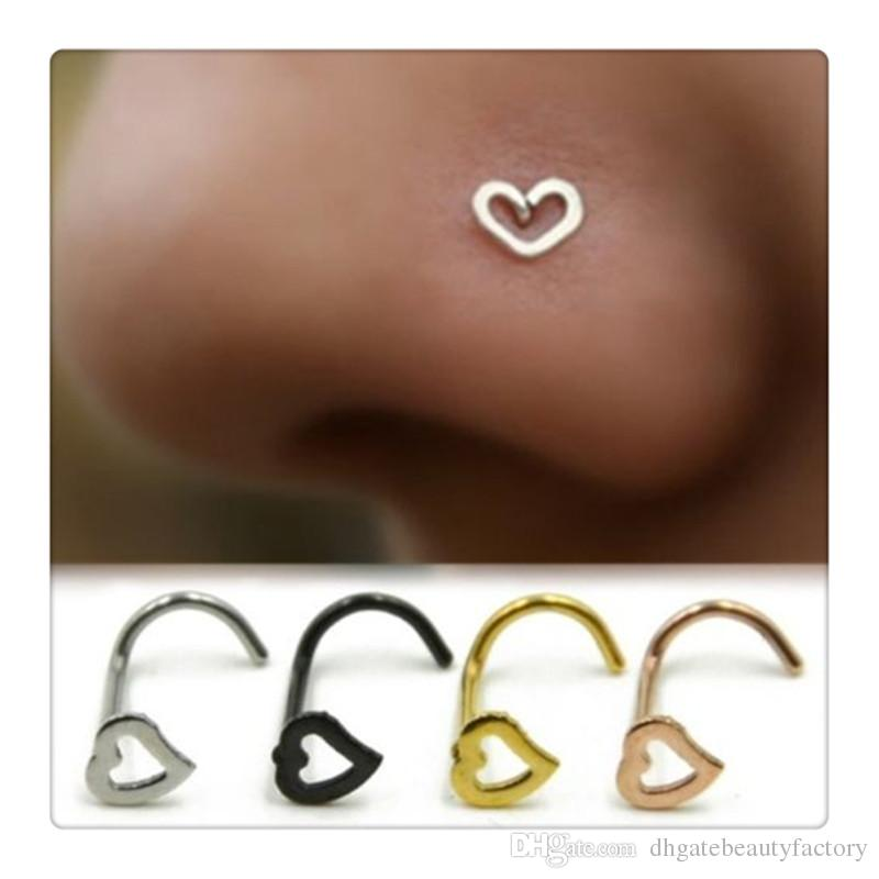 Body Jewelry Heart Nose Rings Screw Stud Ring Piercing Stainless Steel Nose Open Hoop Ring Earring Studs