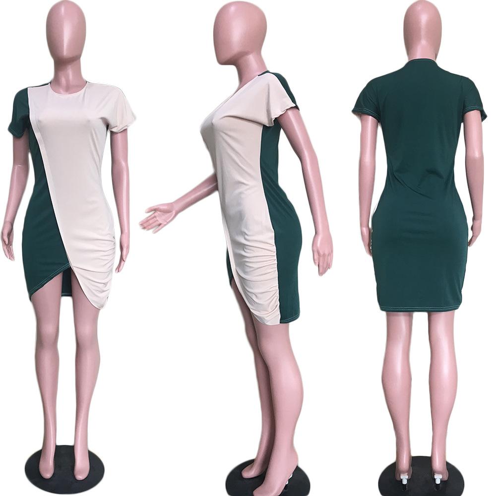 Shir gratuit Nouvelles Femmes De La Mode Col Ras Du Cou À Manches Dress Occasionnels Manche Courte Split Mini Robes Lady Vestidos