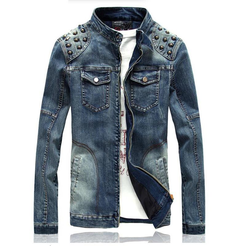 2016 Denim Jacket Korean Version Of The New Rivet Slim Jackett Men Jacket Men Clothing Jeans Jacket Men
