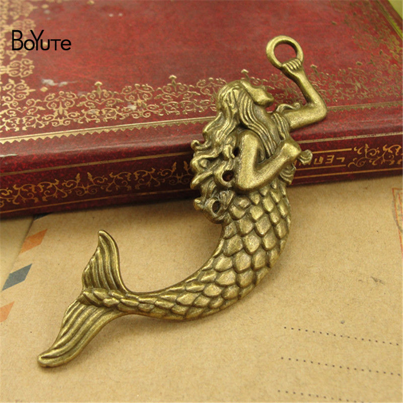 BoYuTe (30 PiecesLot) Antique Bronze Silver Mermaid Pendant Charms Diy Hand Made Jewelry Accessories (4)