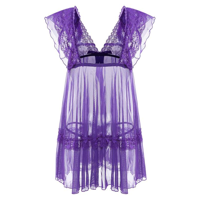 Women See Through Lace Sexy Lingerie Hot Erotic Deep V Sexy Costumes Erotic Underwear Nightwear Dress With Thongs T-back Set New