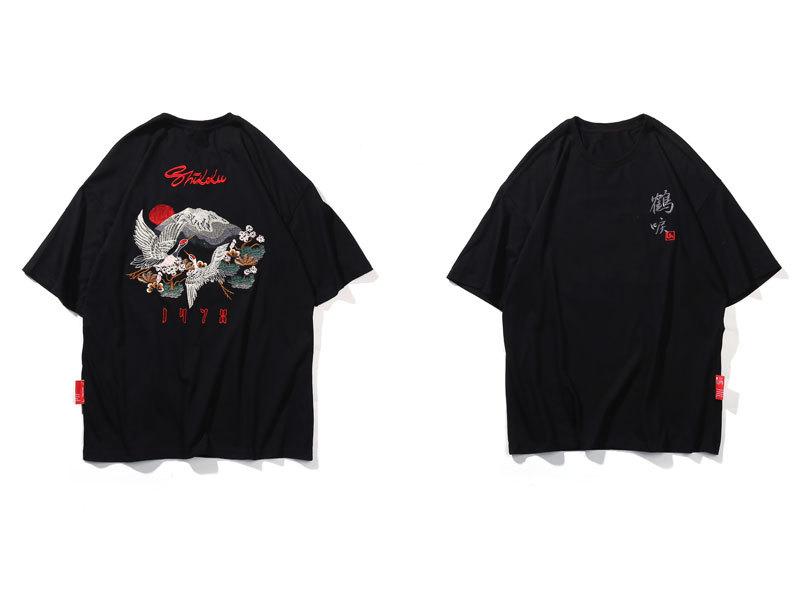 Embroidery Flowers Mount Fuji Tshirts 1