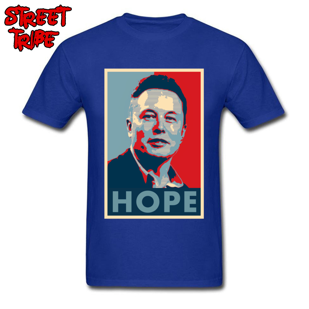 Elon Musk Hope Poster 1459 Printed On Thanksgiving Day Pure Cotton Crew Neck Mens Tops & Tees T-shirts Short Sleeve Top T-shirts Elon Musk Hope Poster 1459 blue