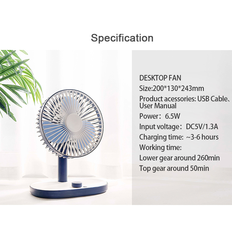 Kbaybo Mini USB Rechargeable Built-In Battery Air Cooling Fan Desk Cooler Fan Student Dormitory Bed Portable Desktop fan