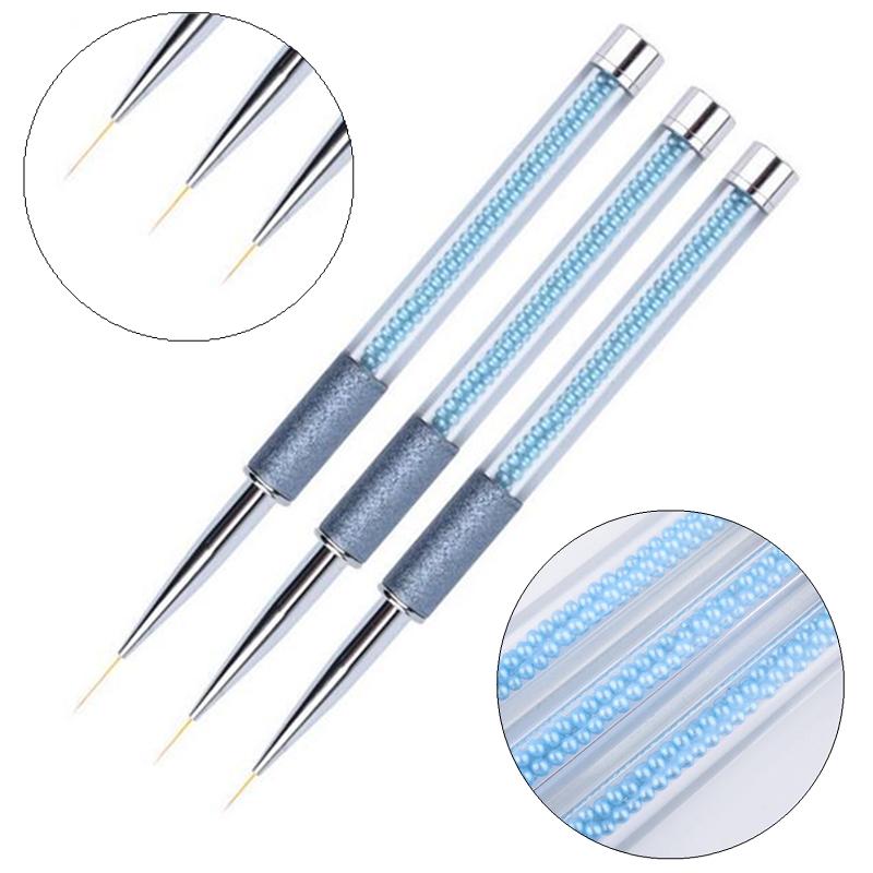 Nail Art Metal Scrub Pearl Acrylic Line Painting Brush UV Gel Polish Tips Flower Drawing Design DIY Pen Manicure Tools