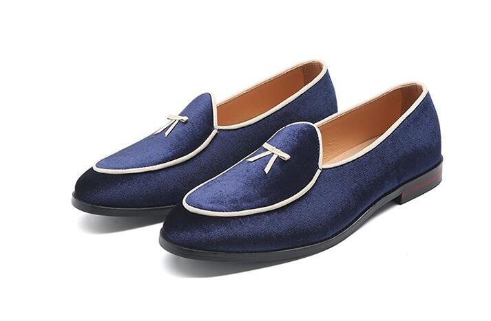 XJH Mens Pointed Toe Rivet Dress Shoes Glitter Loafers Plus Size
