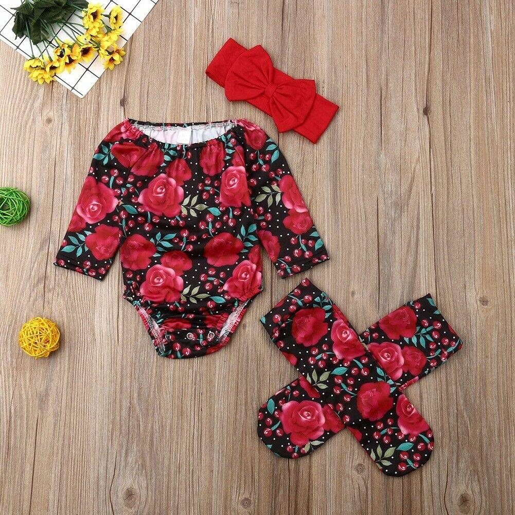 UK Newborn Baby Girl Floral Clothes Off Shoulder Romper+Socks Cotton Outfits Set