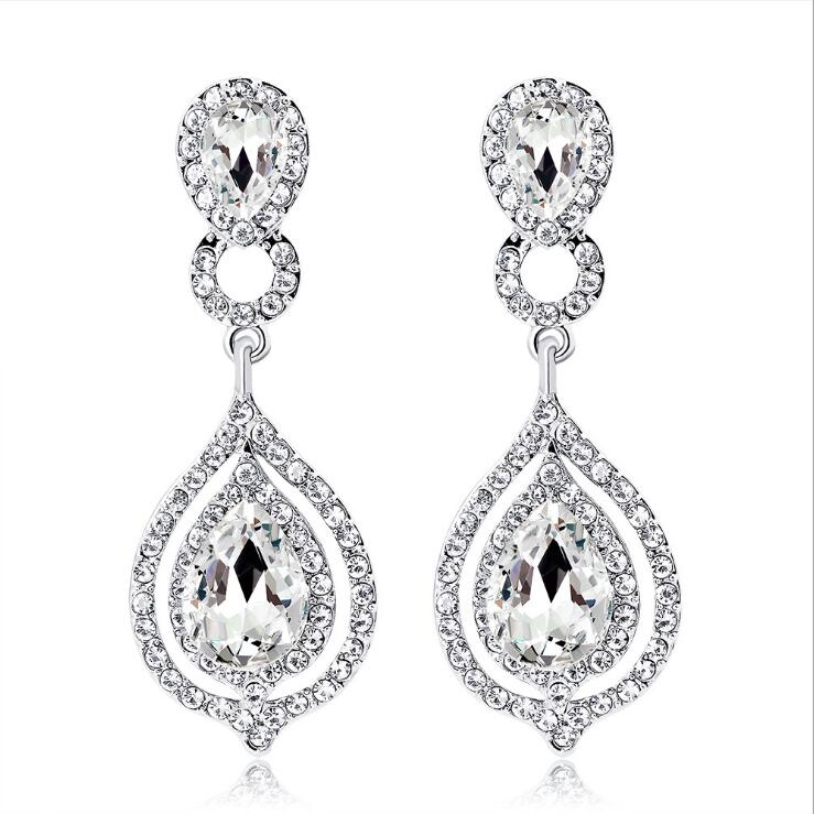 Brillant Cristal Strass long Dangle Drop Crochet Boucles D/'oreilles Oreille Goujon Femmes Fashion