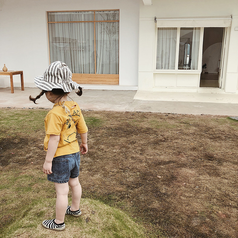 Estilo coreano 2019 Verano de Dibujos Animados Impreso Camisetas para Niños Chicos Lindos Chicas Ripped Moda Camisetas de Manga Corta 1-6y Y19051003