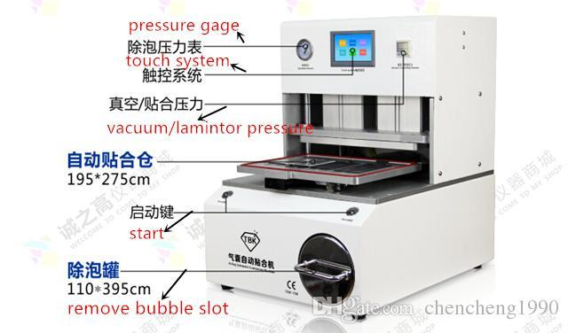 TBK-708 Professional Curve Phone LCD Screen Balloon Vacuum Pump Laminating Repair Machine With Remove Bubble Cans 110V / 220V DHL Free