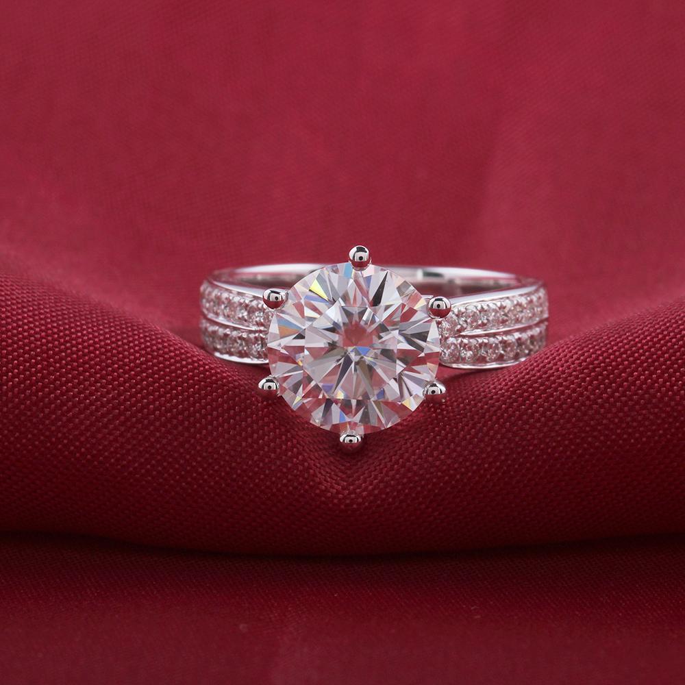 moissanite engagement ring- 14k white gold- moissanite- 3carat- F color (8)