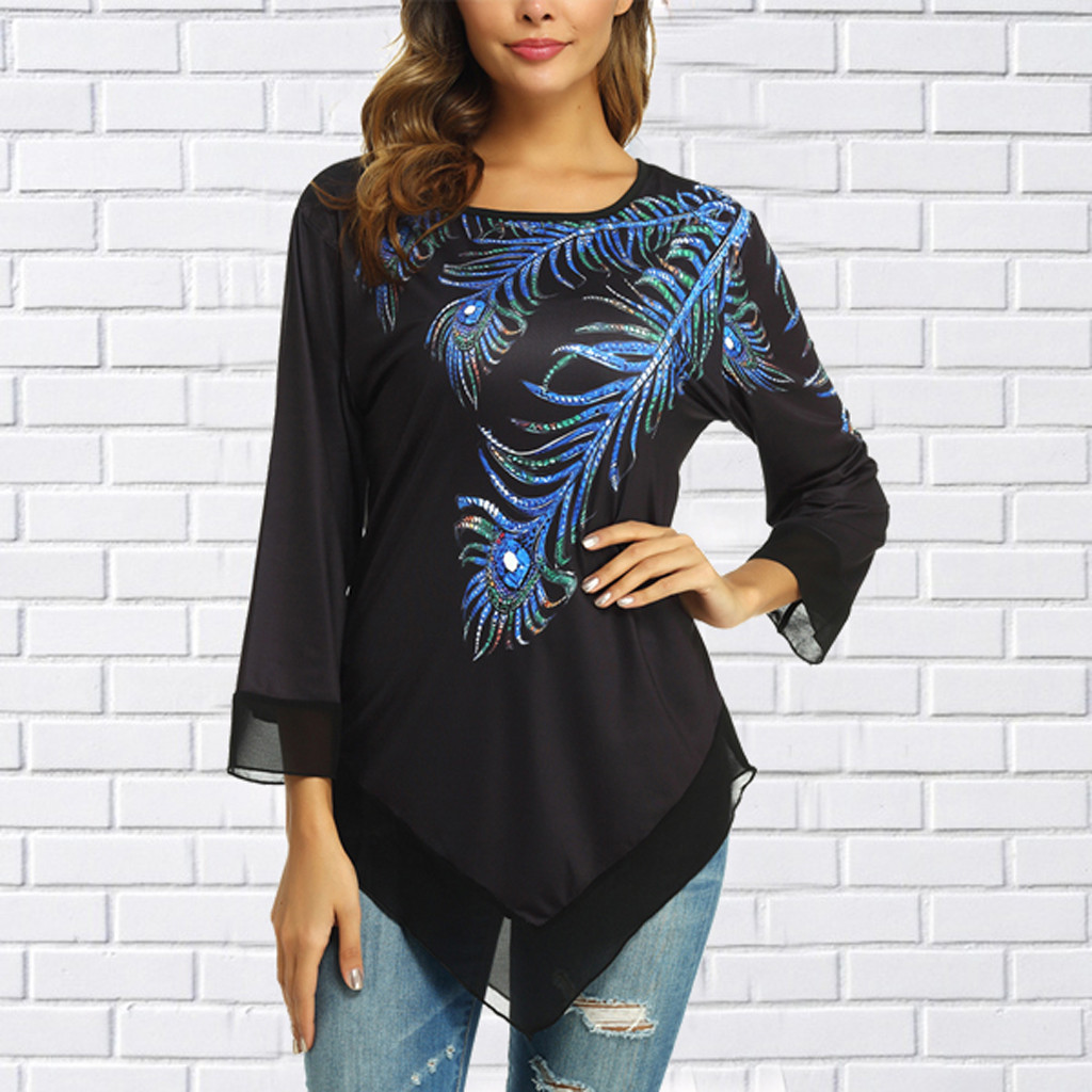 Plus Size Women Shirts,2019 New Casual Lace Mesh Patchwork Sleeve T-Shirt Tunic Tops Blouse