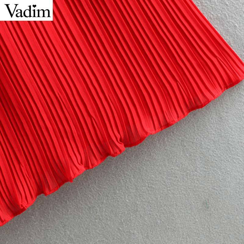 Vadim Women Chiffon Red Black Pleated Jumpsuits Elastic Waist Ruffles Sleeveless Backless Rompers Female Chic Playsuits Ka851 Y19060501