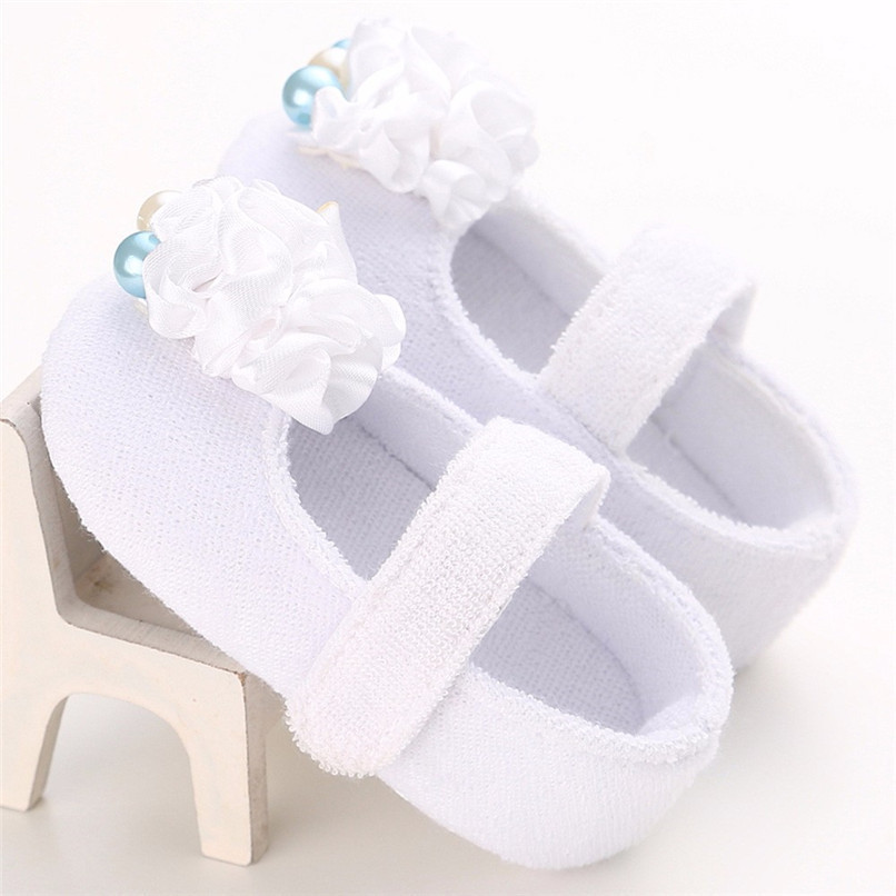 Baby Girls Shoes Fashion Newborn Infant Baby Girls Flower Pearl Soft Sole Anti-slip Princess Shoes Baby First Walker JE25#F (2)