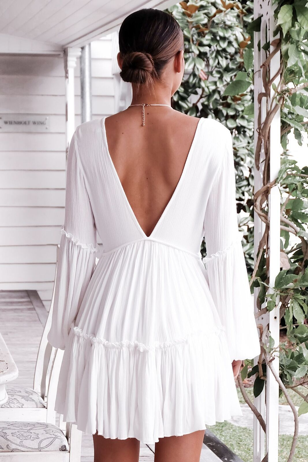 New fashion women white sexy deep v-neck solid color long puff sleeve falbala short dress vacation ladies loose dress