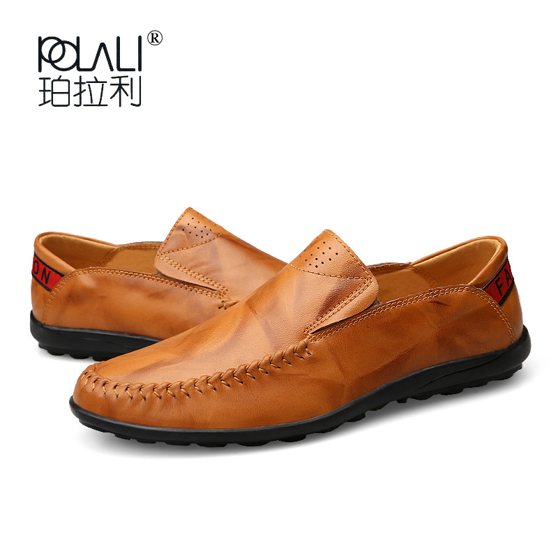 POLALI Fashion Genuine Leather Men's Shoes Casual Big Size 36-47 Holes Loafer Design Driving Men Flat Footwear Handmade Shoes