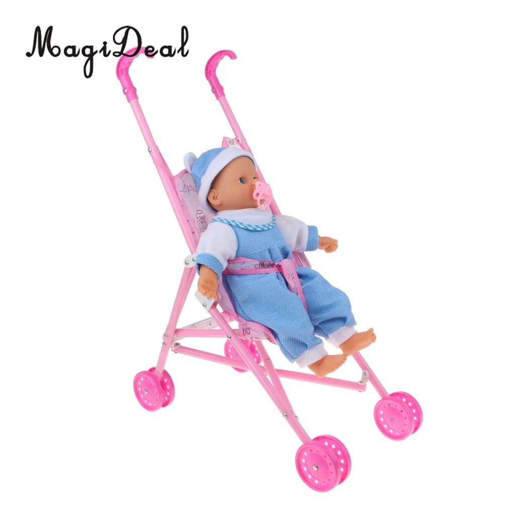 Foldable Umbrella Doll Stroller with Handles Baby Trolley & Mini Newborn Baby Doll For Reborn Doll Simulation Nursing Accessory