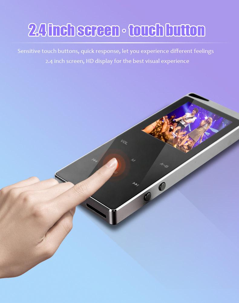 Lecteur MP3 MP4 De Luxe En Métal Lecteur Bluetooth Portable Slim MP3 MP4 Médias 2.4 Pouce Toucher Tactile FM Radio TF Carte Pris En Charge Musique Lecteur Cadeau