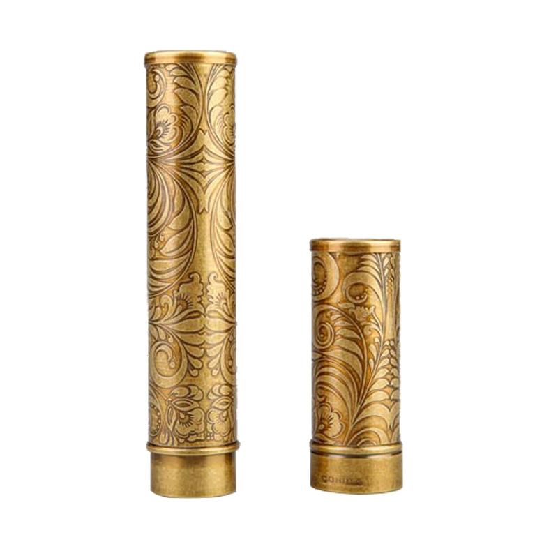 New Hot 2019 Gadgets Carbon Fiber Cigar Tube Holder Hold 1 Cigar Travel Case Cigar Humidor Box Portable Brass Metal Tube Black