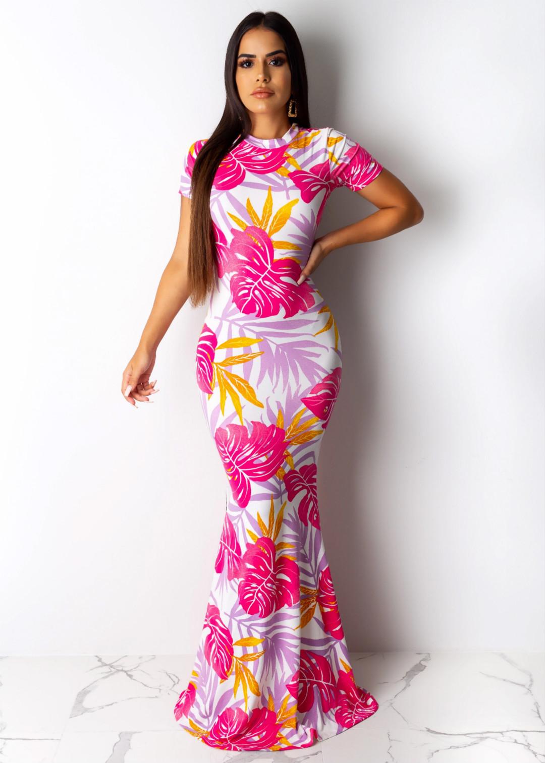 P8404 новые европейские и американские женские модные модели взрыва 19 шею утечки мешок бедра печати пляжное платье юбка 809