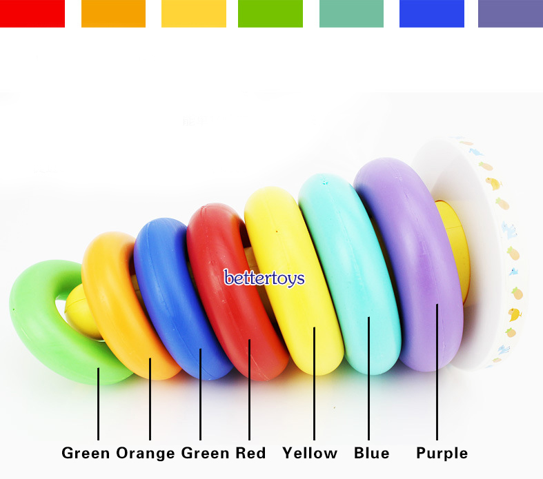 Kids Child Ring Rainbow Montessori Educational Toy for Children Tower Tumbler Stacker Stack Up Baby Fun Block Board Game