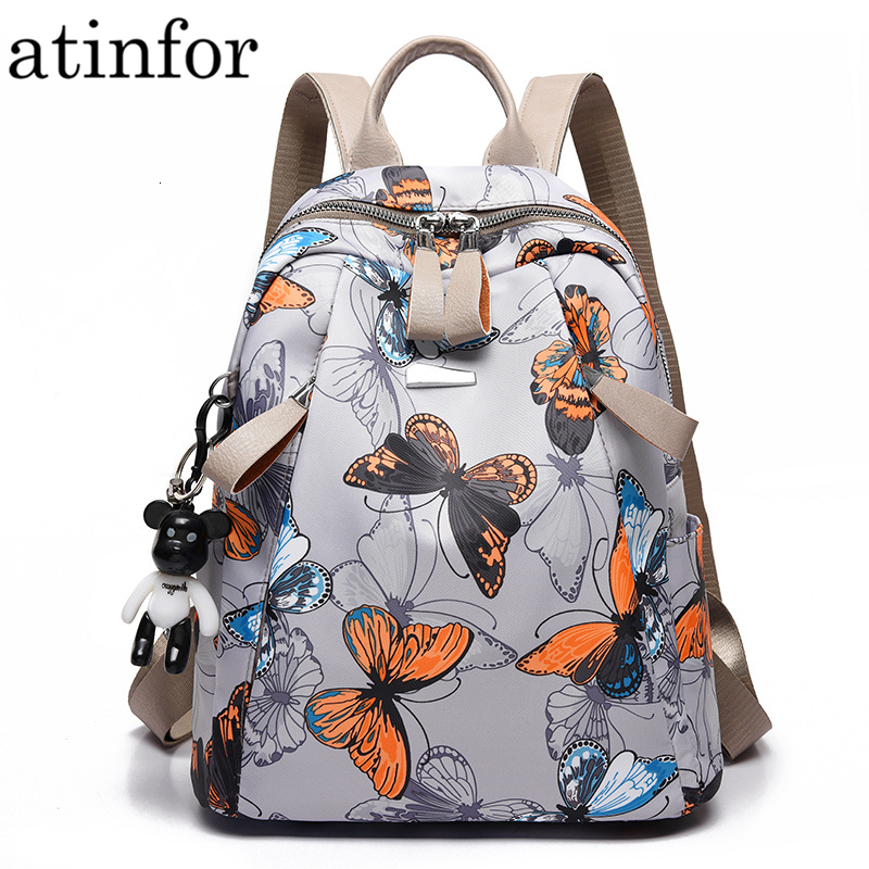 ForU-1 Backpack for Women Girls Rivet Small Backpacks Print Schoolbag Preppy Style//White Butterfly