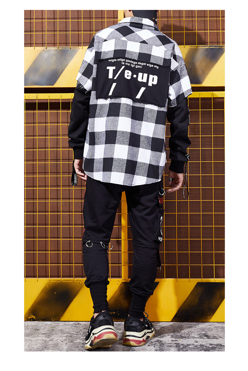 Red And Black Plaid Patchwork Shirt Men (7)