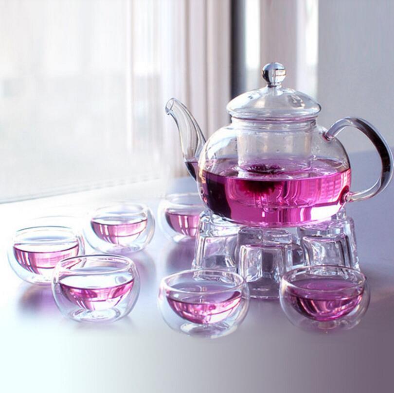 New 6 double-wall cups + heart warmer + glass tea pot] 600ML heat-resistant glass tea set / kettle Rose Tea infuser