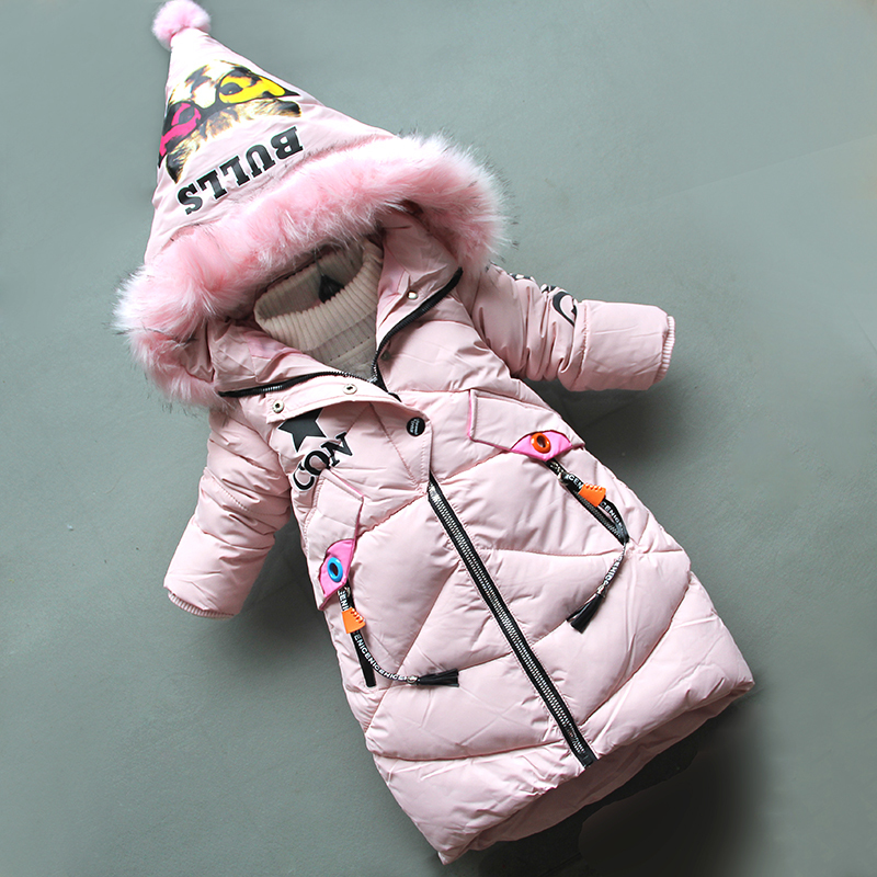 good qulaity fashion winter cotton girls jackets cotton long style hooded clothes children cartoon outerwear kids long sleeve coats