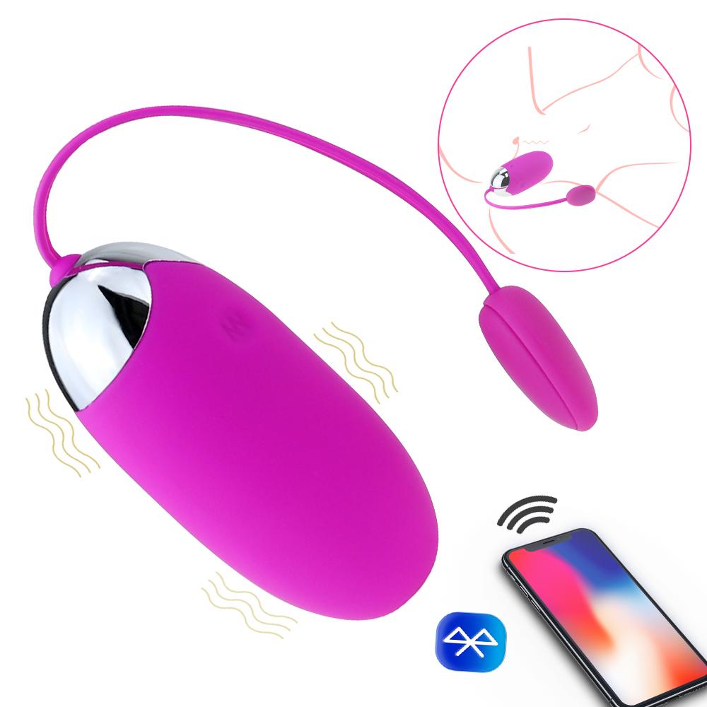 Vibradores bala com iOS Android APP Bluetooth controle remoto sem fio vibratório ovo Vibrador Bola 12 Velocidades Sex brinquedos para as mulheres MX191228