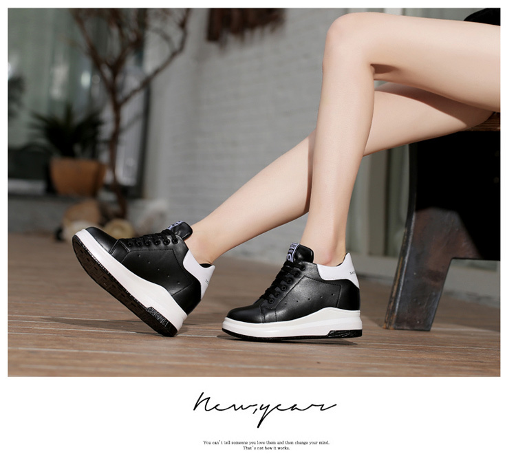 WADNASO Height Increased Casual Shoes Woman Wedge Platform Sneakers Lace Up Breathable Hide Heels Ladies Shoes Female XZ108 (27)