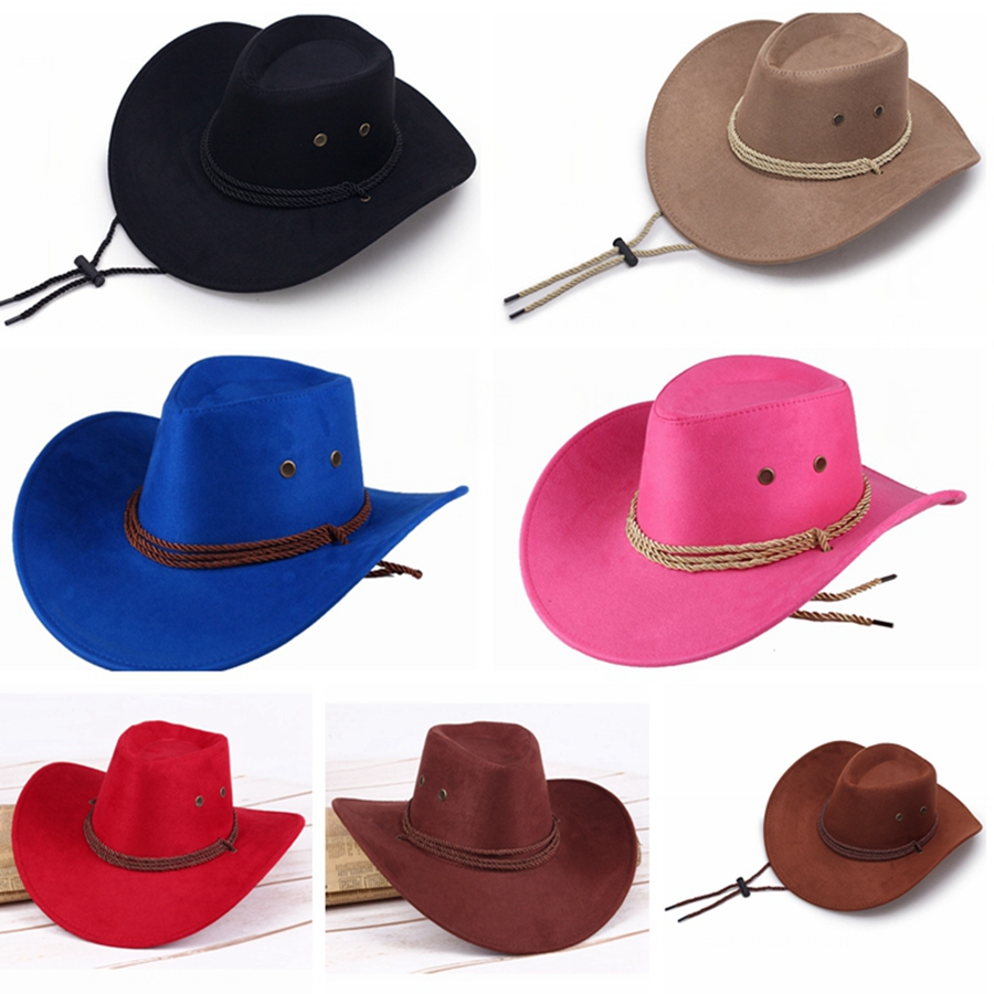 Set of 18 Woven Cowboy Fashion Hat with Neck Cord Apparel Hats 123-Wholesale