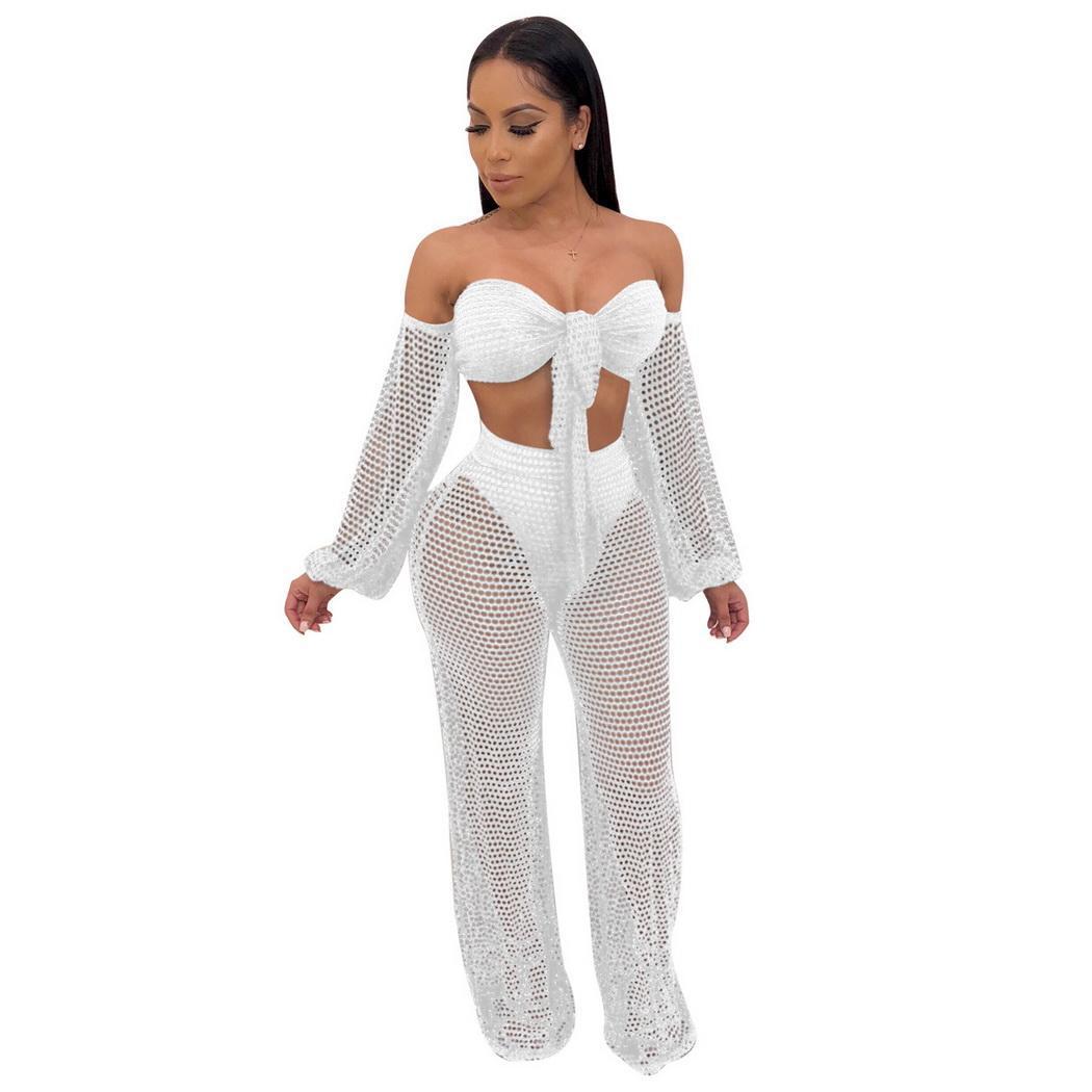 Mode neue Frauen durchschauen schiere Mesh Crop Tops Weite Hosen Beach Outfits Mode neue Frauen Weite Hosen Set