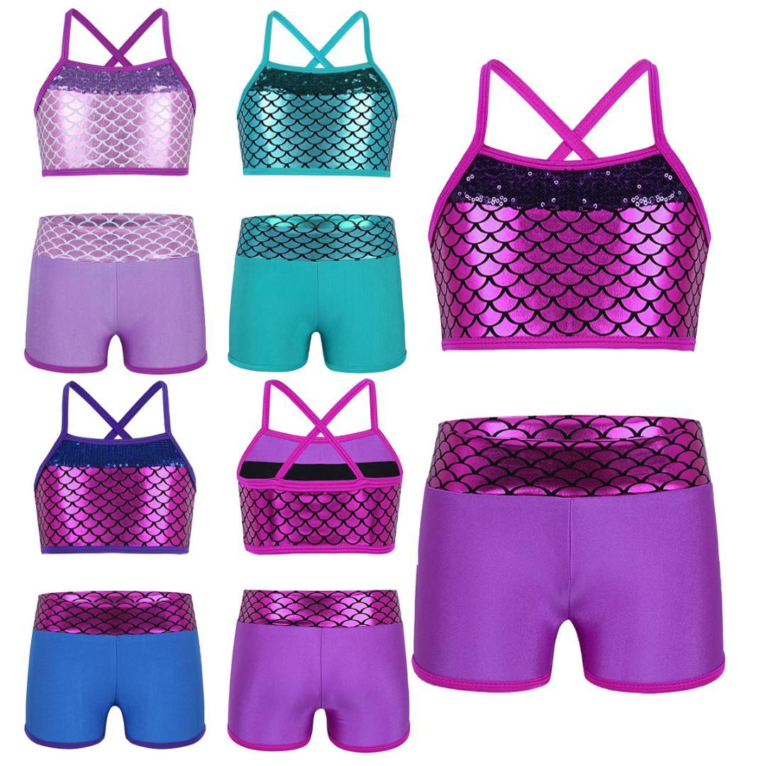 2Pcs Girls Sport Dance Outfits Kids Jazz Ballet Dancewear Workout Swimwear Set