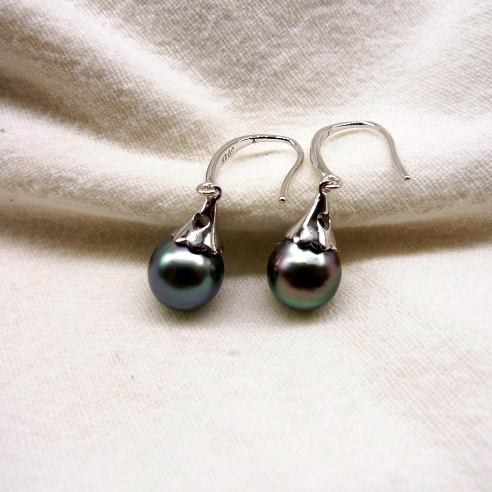 Tahiti Black pearls Women earrings Dangle earrings wedding