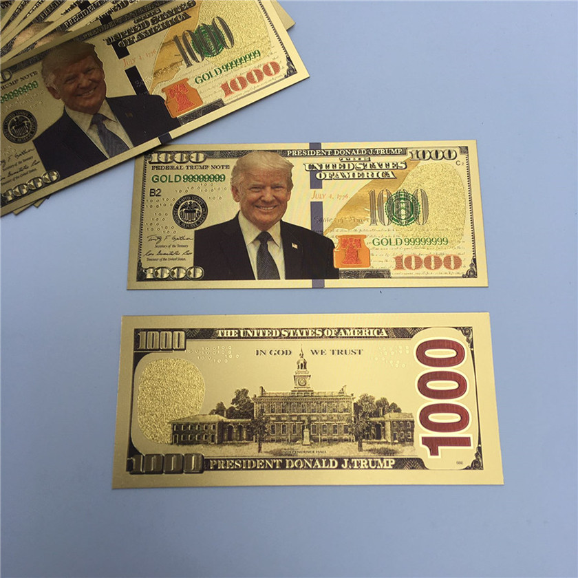 Donald Trump Dollar USA President Banknote Plastic Gold Foil Pleated Bills America General Election Souvenir fake Money coupon 2020 E3408