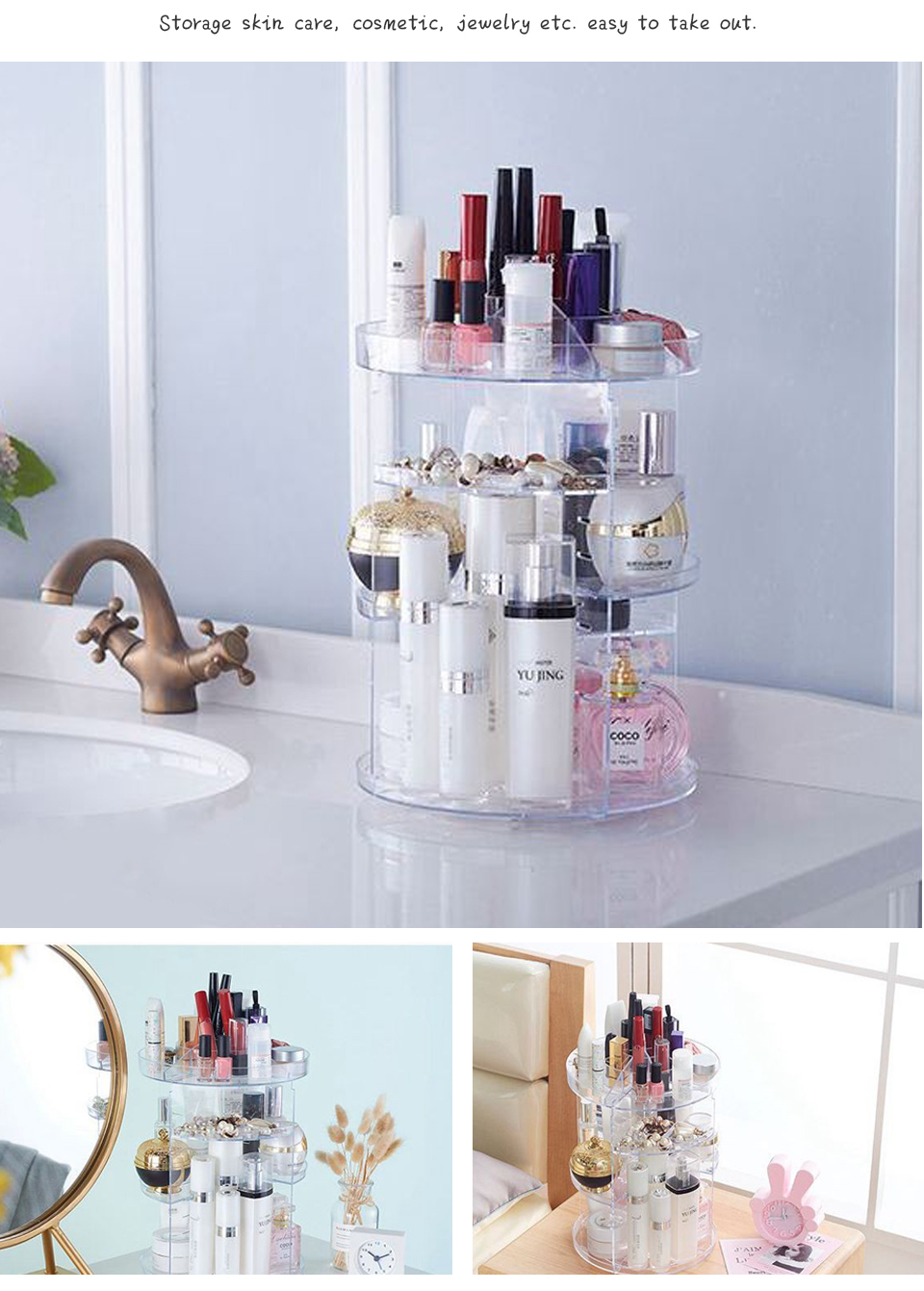 Makeup Organizer 360 Rotating Adjustable Storage Box Plastic Clear AcrylicTransparent Box Jewelry Necklace Nail Polish Cosmetic (6)