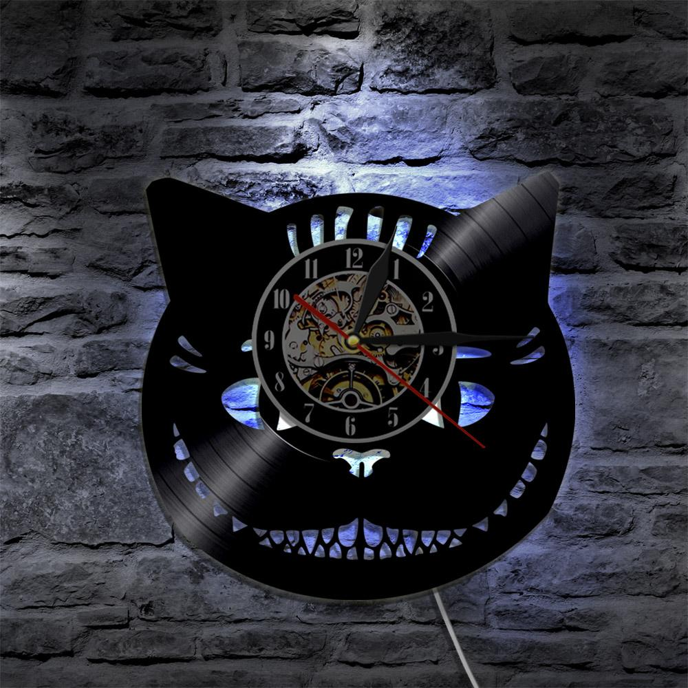 Modern Art 2019 Alice in Wonderland Cheshire Cat Led Vinyl Clock Wall Light Vintage LP Modern Handmade Art Decor Record Nightlight Lamp