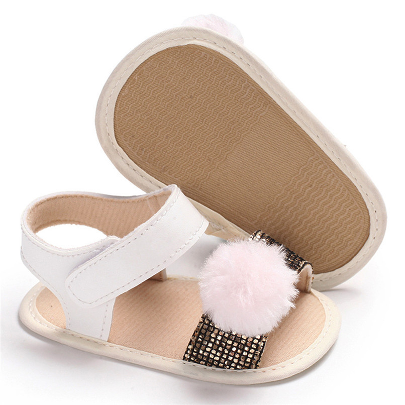 3 Color Summer Baby Girl Shoes Newborn Toddler Baby Girl Soft Ball Sequins Sandals Soft Sole Anti-slip Shoes Girl Sandals JE14#F (17)