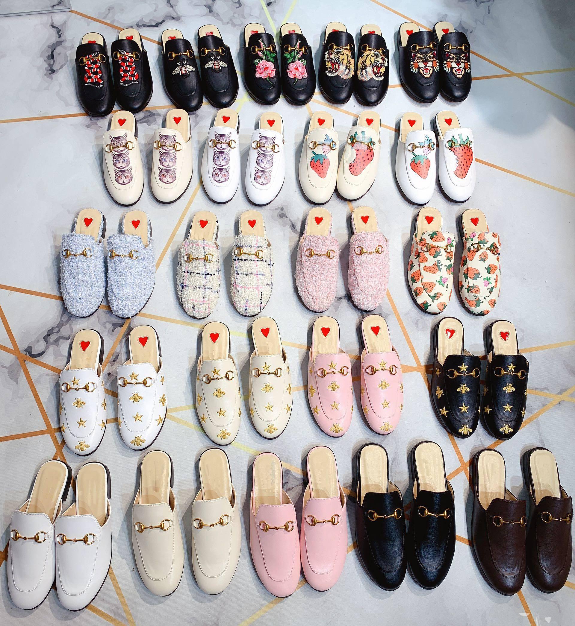 2019 femmes concepteur oisif sandales blanc noir Princetown mules avec mors Slipper chats pantoufle chaîne en métal boîte aux fraises brodés