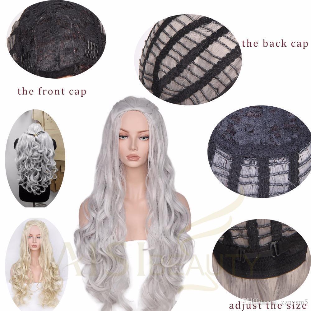 Game of Thrones Daenerys Targaryen Qarth Wigs Cosplay Long Curly Wave Wig Props