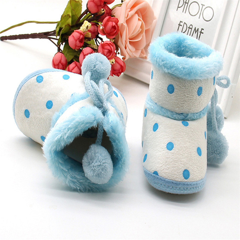 1 Pair Baby Girl Boots Baby Girl Dot Printed Bowknot Soft Sole Snow Boots Soft Crib Shoes Toddler winter Boots bota infantil D10 (8)