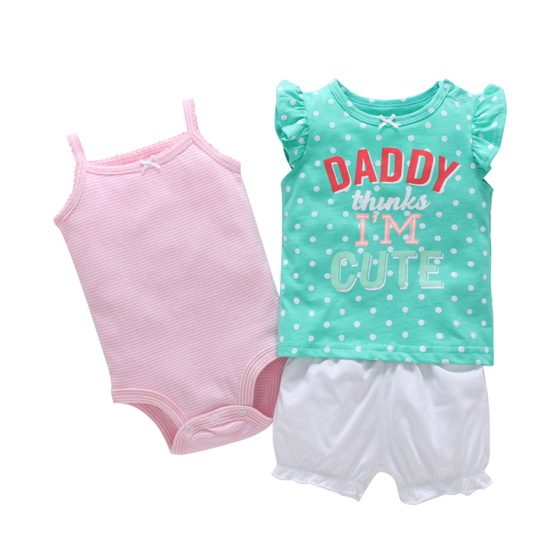 3PCS new born baby girl cute outfit summer infant clothes set sleeveless letter print T-shirt tee+bodysuit pink+butterfly shorts