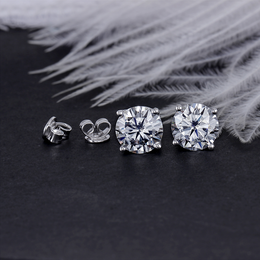 Platinum Plated Silver 4CTW 8mm Slight Grey Heart and Arrow Cut Moissanite Stud Earring Push Back for Women with 14K Pin(5)