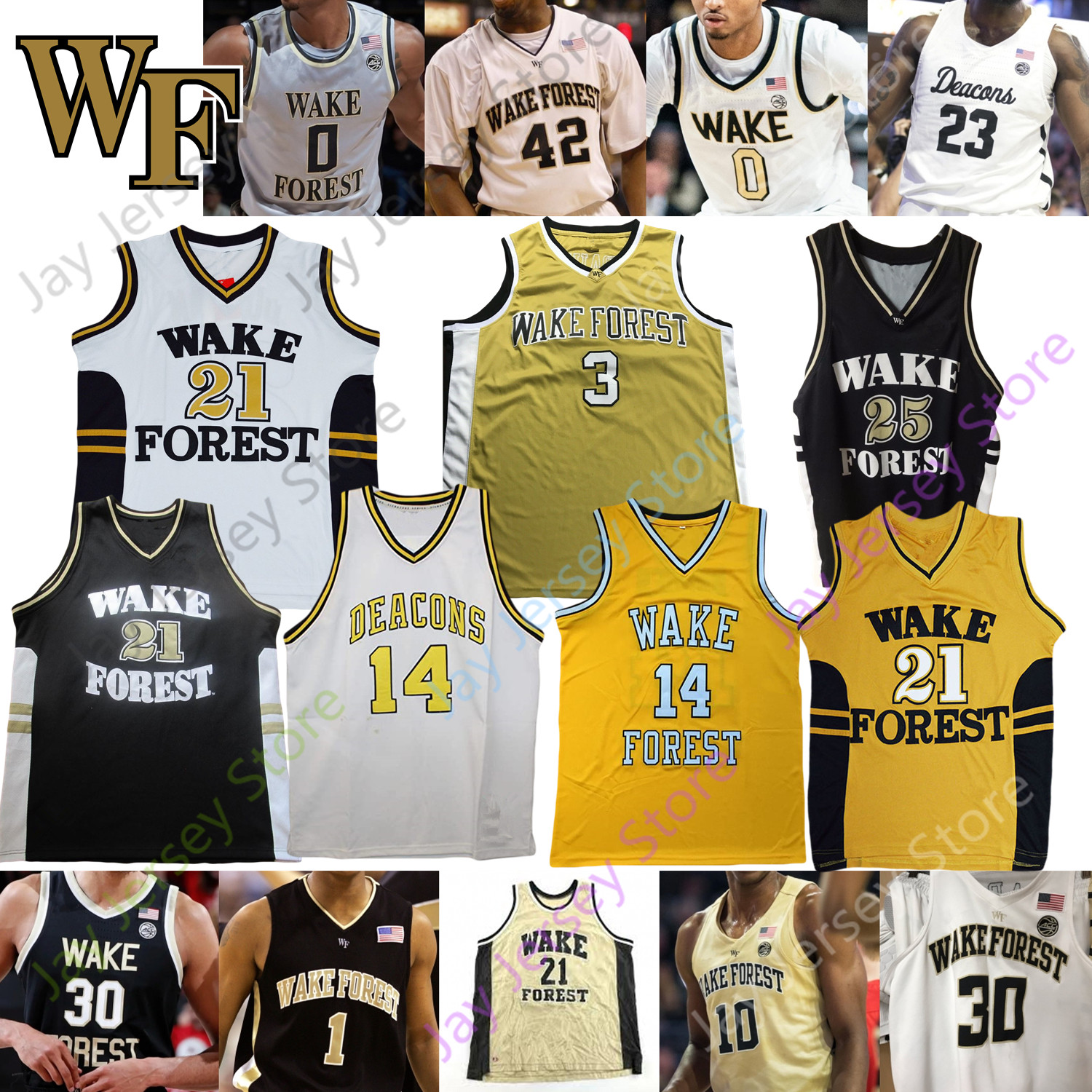 2020 Wake Forest Demon Deacons Basketball Jersey NCAA College Collins Chris Paul Jeff Teague Ish Smith Josh Howard Muggsy Bogues Tim Duncan