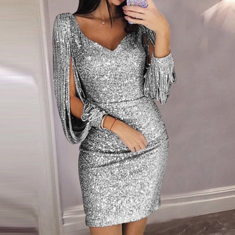 Tassel Lantern Sleeve Sequin Dress Women Sexy V Neck Bodycon Dresses Summer Fashion Elegant Party Dress Sequined Vestidos 8L1509