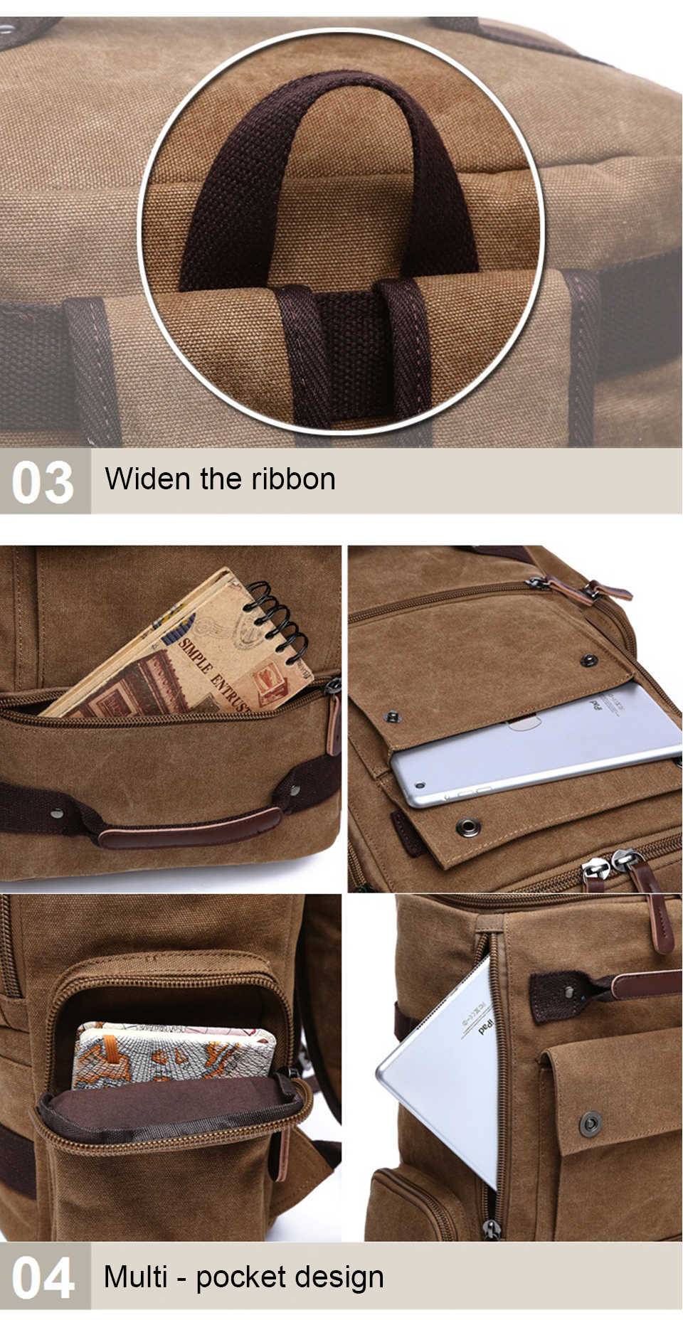 9 Canvas Backpack 15.6