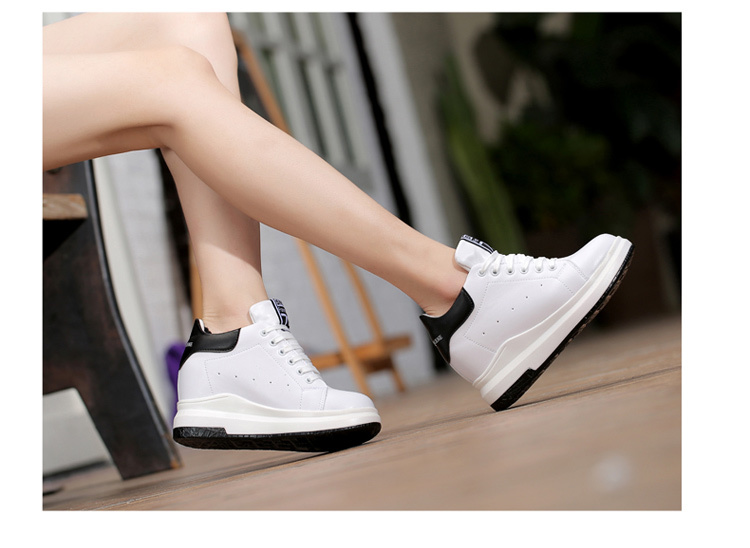 WADNASO Height Increased Casual Shoes Woman Wedge Platform Sneakers Lace Up Breathable Hide Heels Ladies Shoes Female XZ108 (19)