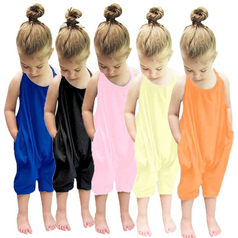 Toddler Kids Baby Girls Summer Strap Romper Jumpsuit Harem Pants Clothes Outfit